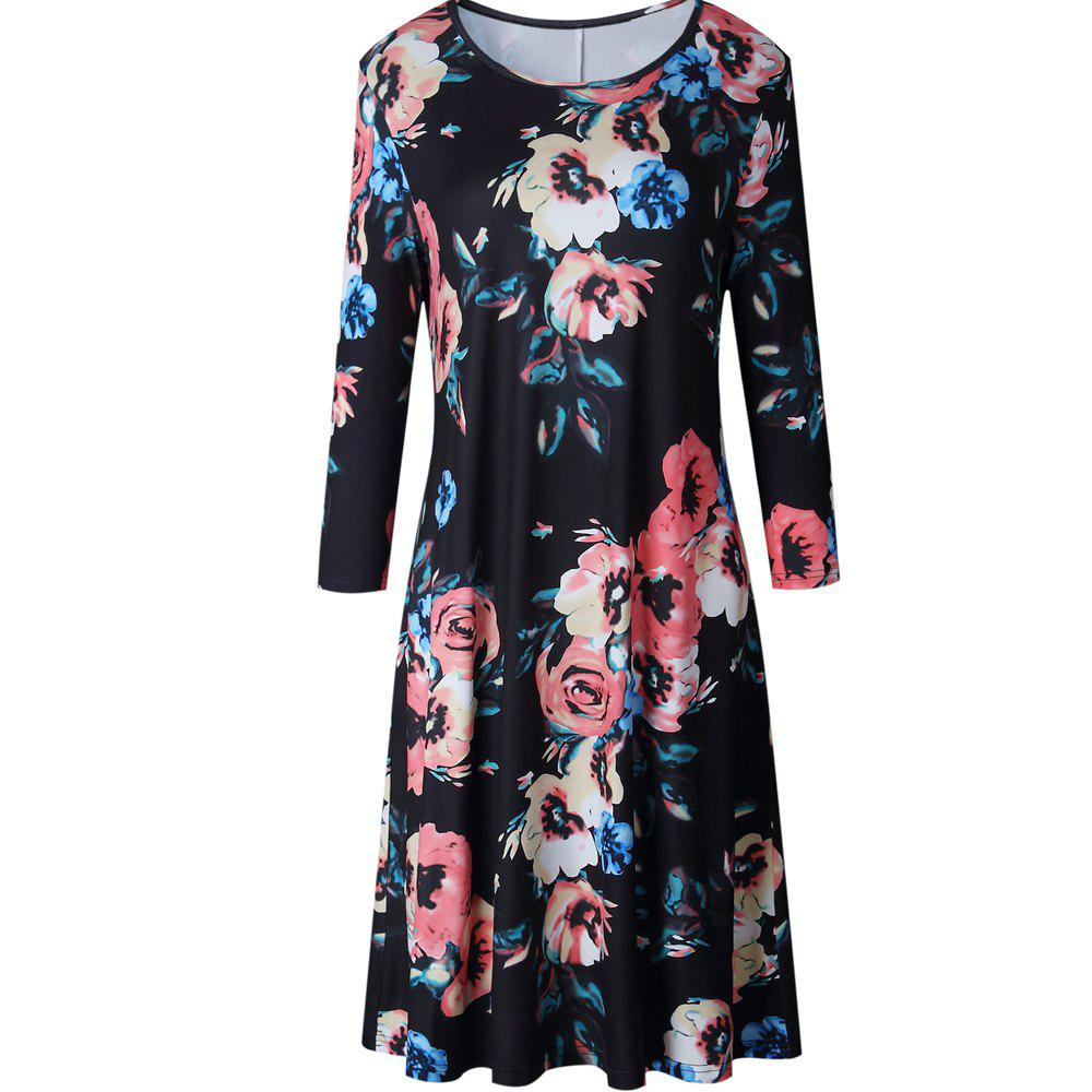 Floral Print Long Sleeve Round Neck Dress - BLACK L