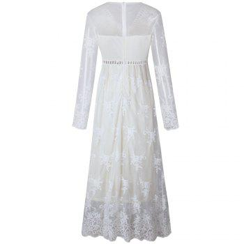 Hollow Out Long Sleeve White Dress - WHITE M