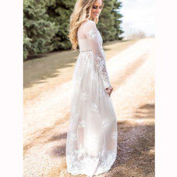 Hollow Out Long Sleeve White Dress - S S