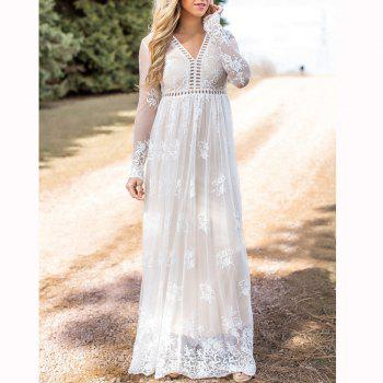 Hollow Out Long Sleeve White Dress - WHITE XL