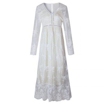 Hollow Out Long Sleeve White Dress - WHITE WHITE