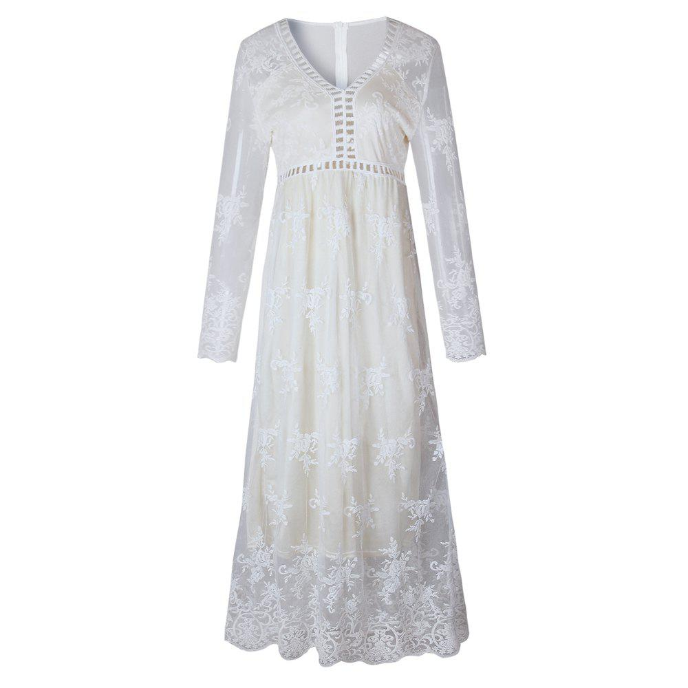 Hollow Out Long Sleeve White Dress - WHITE L