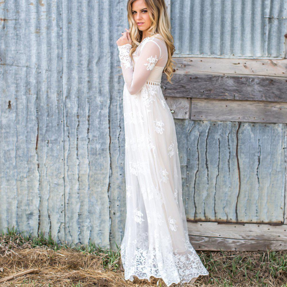 Hollow Out Long Sleeve White Dress - WHITE S