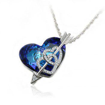 Veecans Heart of The Ocean Pendant Necklace Made with Blue Top Crystal Brass Rhodium Plated - BLUE BLUE