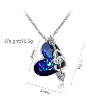 Veecans Heart of The Ocean Pendant Necklace Made with Blue Top Crystal Brass Rhodium Plated - BLUE