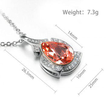 Veecans Fashion Teardrop Pendant Necklace Made with Red Top Crystal Brass Rhodium Plated -  RED