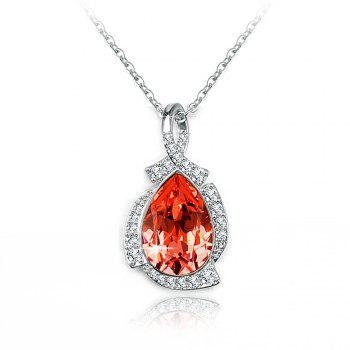 Veecans Fashion Teardrop Pendant Necklace Made with Red Top Crystal Brass Rhodium Plated - RED RED