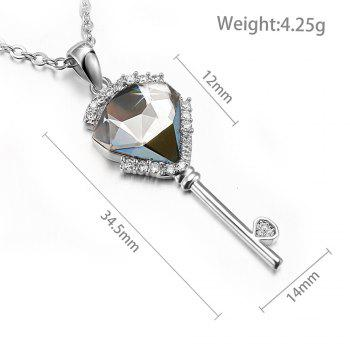 Veecans 925 Sterling Silver Key Pendant Necklace for Women Girls Top Grade Clear Crystals Brass Rhodium Plated 16 Inches + 2 Inches Extender - CLEAR