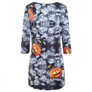Autumn And Winter New Halloween Pumpkin Lights Long Sleeves Casual Dress - M M