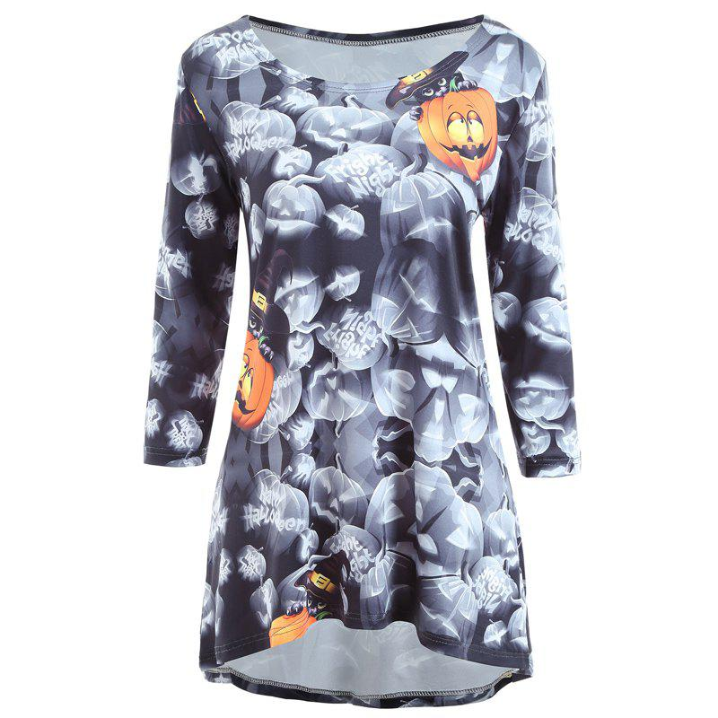 Autumn And Winter New Halloween Pumpkin Lights Long Sleeves Casual Dress - GRAY M