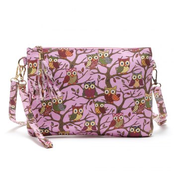 Cartoon Owl Printed Small Crossbody Bag - ROSE RED 1PC