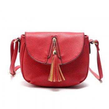 Tassel Zipper Solid Color Crossbody Bag - RED 1PC