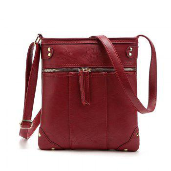 Solid Color Zipper Rivets Crossbody Bag