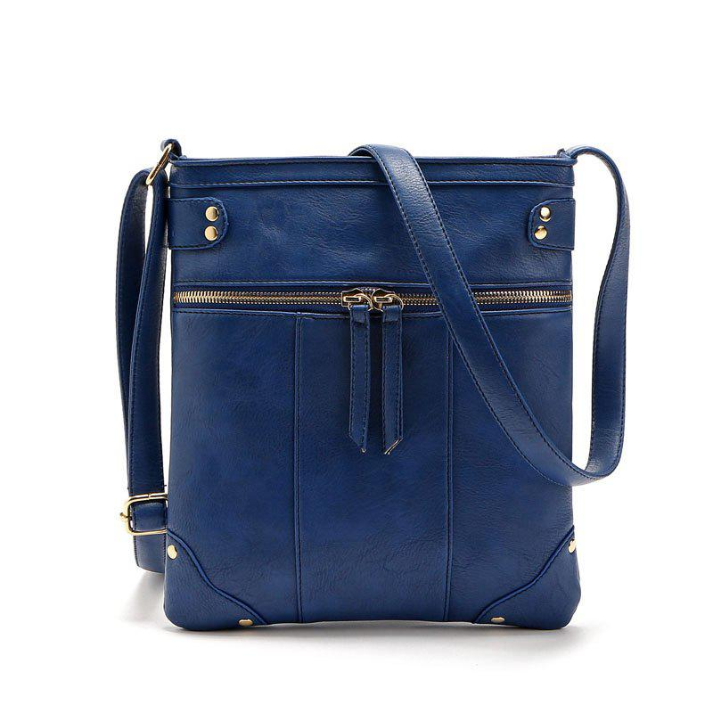 Solid Color Zipper Rivets Crossbody Bag - BLUE 1PC
