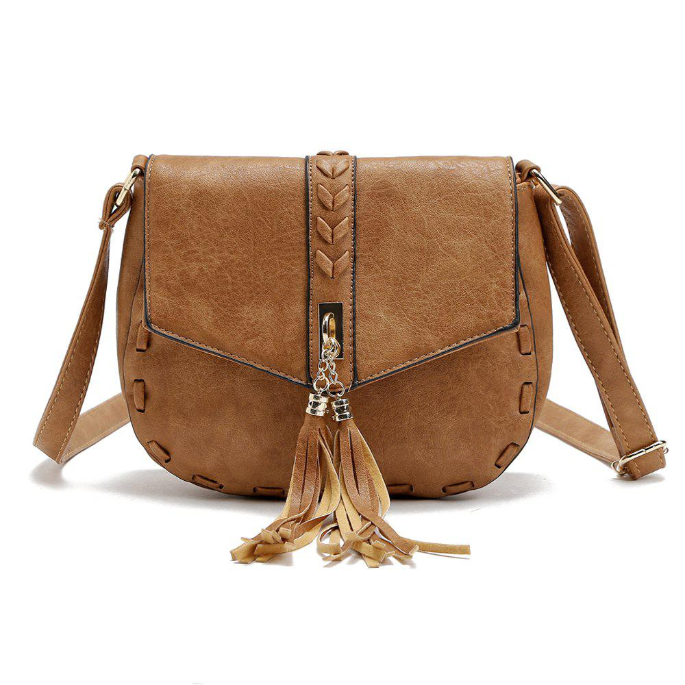 Solid Color Tassels Knitted Saddle Crossbody Bag - APRICOT 1PC