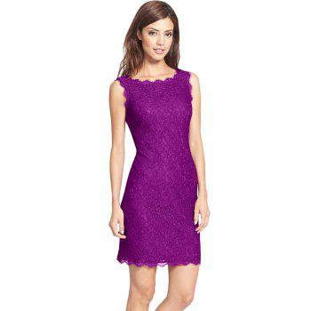 New Sexy Ebay High Quality Robe Femme 2017 Women Summer Embroidery Sexy Dresses Sleeveless Casual Evening Party Sheath Shift Dress - PURPLE XL