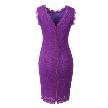 New Sexy Ebay High Quality Robe Femme 2017 Women Summer Embroidery Sexy Dresses Sleeveless Casual Evening Party Sheath Shift Dress - PURPLE M
