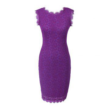 New Sexy Ebay High Quality Robe Femme 2017 Women Summer Embroidery Sexy Dresses Sleeveless Casual Evening Party Sheath Shift Dress - PURPLE S