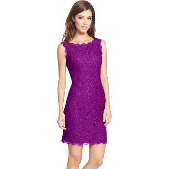 New Sexy Ebay High Quality Robe Femme 2017 Women Summer Embroidery Sexy Dresses Sleeveless Casual Evening Party Sheath Shift Dress - PURPLE L