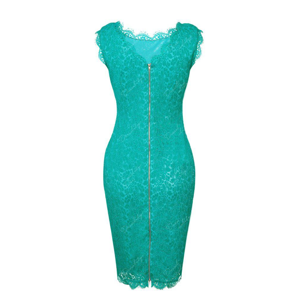 New Sexy Ebay High Quality Robe Femme 2017 Women Summer Embroidery Sexy Dresses Sleeveless Casual Evening Party Sheath Shift Dress - GREEN 2XL