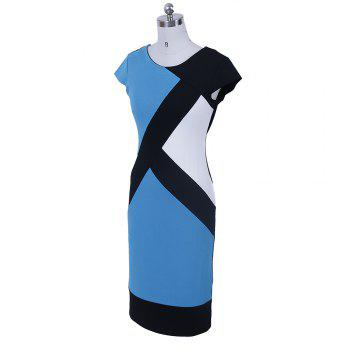 2017 Optical Illusion Patchwork Contrast New Style Women Elegant Slim Casual Work Office Business Party Bodycon Pencil Dress - 2XL 2XL