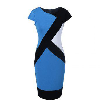2017 Optical Illusion Patchwork Contrast New Style Women Elegant Slim Casual Work Office Business Party Bodycon Pencil Dress - LIGHT BLUE L