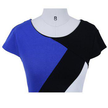 2017 Optical Illusion Patchwork Contrast New Style Women Elegant Slim Casual Work Office Business Party Bodycon Pencil Dress - BLUE S