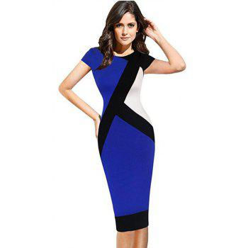 2017 Optical Illusion Patchwork Contrast New Style Women Elegant Slim Casual Work Office Business Party Bodycon Pencil Dress - BLUE L