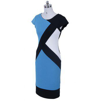 2017 Optical Illusion Patchwork Contrast New Style Women Elegant Slim Casual Work Office Business Party Bodycon Pencil Dress - LIGHT BLUE M