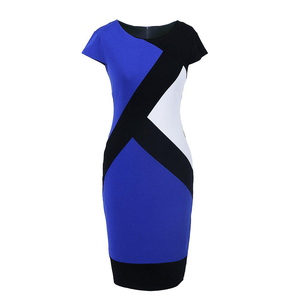 2017 Optical Illusion Patchwork Contrast New Style Women Elegant Slim Casual Work Office Business Party Bodycon Pencil Dress - BLUE M