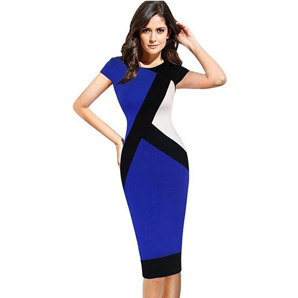 2017 Optical Illusion Patchwork Contrast New Style Women Elegant Slim Casual Work Office Business Party Bodycon Pencil Dress - BLUE XL