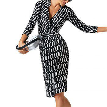2017 Women Sexy Sheath Elegant V-Neck Collar Wrapped Belted Bow Striped Party Office Work Business Bodycon Pencil Dress - BLACK BLACK