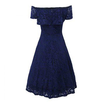 Sexy Off Shoulder Floral Lace Party Swing Dresses Women Dress Cascading Ruffle Lace Casual Formal A Line Dress - NAVY BLUE XL