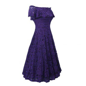 Sexy Off Shoulder Floral Lace Party Swing Dresses Women Dress Cascading Ruffle Lace Casual Formal A Line Dress - PURPLE 2XL