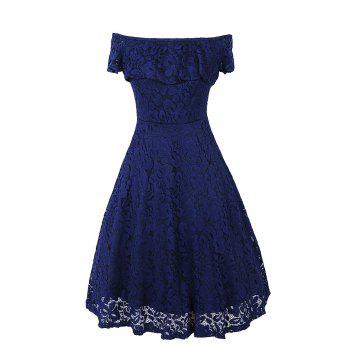 Sexy Off Shoulder Floral Lace Party Swing Dresses Women Dress Cascading Ruffle Lace Casual Formal A Line Dress - NAVY BLUE M