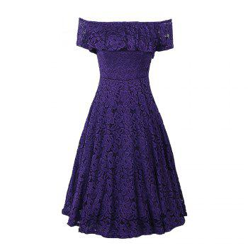 Sexy Off Shoulder Floral Lace Party Swing Dresses Women Dress Cascading Ruffle Lace Casual Formal A Line Dress - PURPLE PURPLE