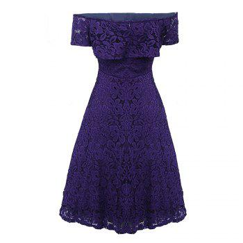 Sexy Off Shoulder Floral Lace Party Swing Dresses Women Dress Cascading Ruffle Lace Casual Formal A Line Dress - PURPLE M