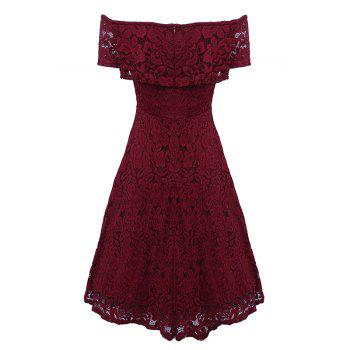 Sexy Off Shoulder Floral Lace Party Swing Dresses Women Dress Cascading Ruffle Lace Casual Formal A Line Dress - WINE RED WINE RED