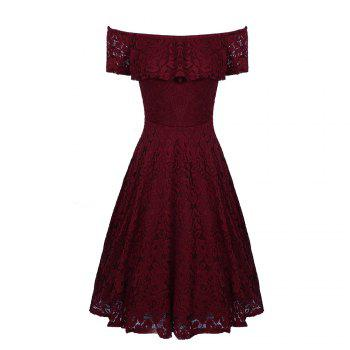 Sexy Off Shoulder Floral Lace Party Swing Dresses Women Dress Cascading Ruffle Lace Casual Formal A Line Dress - WINE RED S