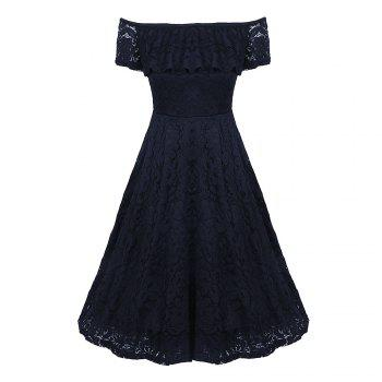 Sexy Off Shoulder Floral Lace Party Swing Dresses Women Dress Cascading Ruffle Lace Casual Formal A Line Dress - BLACK L