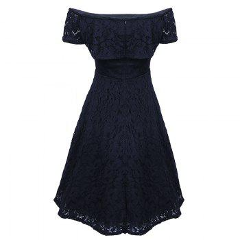 Sexy Off Shoulder Floral Lace Party Swing Dresses Women Dress Cascading Ruffle Lace Casual Formal A Line Dress - BLACK M