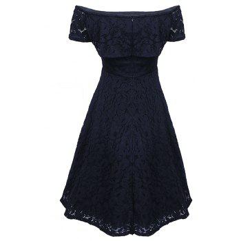 Sexy Off Shoulder Floral Lace Party Swing Dresses Women Dress Cascading Ruffle Lace Casual Formal A Line Dress - BLACK S