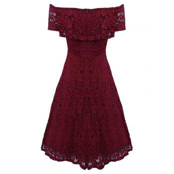Sexy Off Shoulder Floral Lace Party Swing Dresses Women Dress Cascading Ruffle Lace Casual Formal A Line Dress - WINE RED M