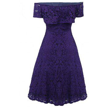 Sexy Off Shoulder Floral Lace Party Swing Dresses Women Dress Cascading Ruffle Lace Casual Formal A Line Dress - PURPLE L