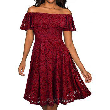 Sexy Off Shoulder Floral Lace Party Swing Dresses Women Dress Cascading Ruffle Lace Casual Formal A Line Dress - WINE RED 2XL