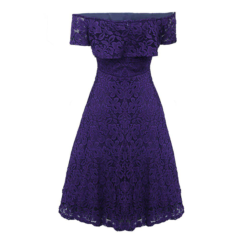 Sexy Off Shoulder Floral Lace Party Swing Dresses Women Dress Cascading Ruffle Lace Casual Formal A Line Dress - PURPLE XL