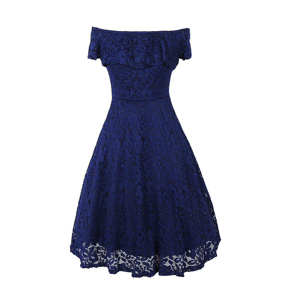 Sexy Off Shoulder Floral Lace Party Swing Dresses Women Dress Cascading Ruffle Lace Casual Formal A Line Dress - NAVY BLUE L