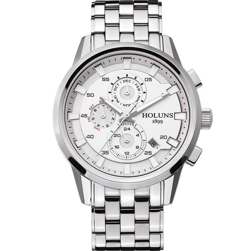 HOLUNS 3053 4607 Business Automatic Mechanical Steel Band Men Watch - SILVER