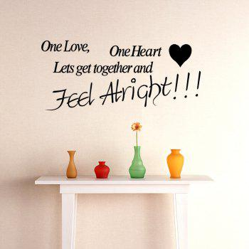 One Love One Heart Wall Sticker - BLACK 58 X 131CM