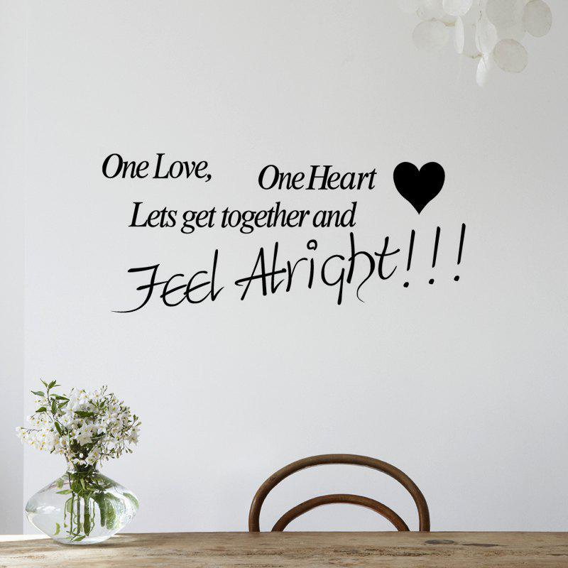One Love One Sticker Mural Coeur - Noir 58 X 131CM